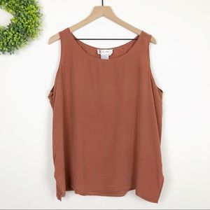 VTG || 100% Silk Terra Cotta Sleeveless Blouse 2X